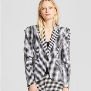 Who What Wear Gingham Blazer Black And White Small